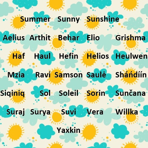 Summer names from Stikins name labels