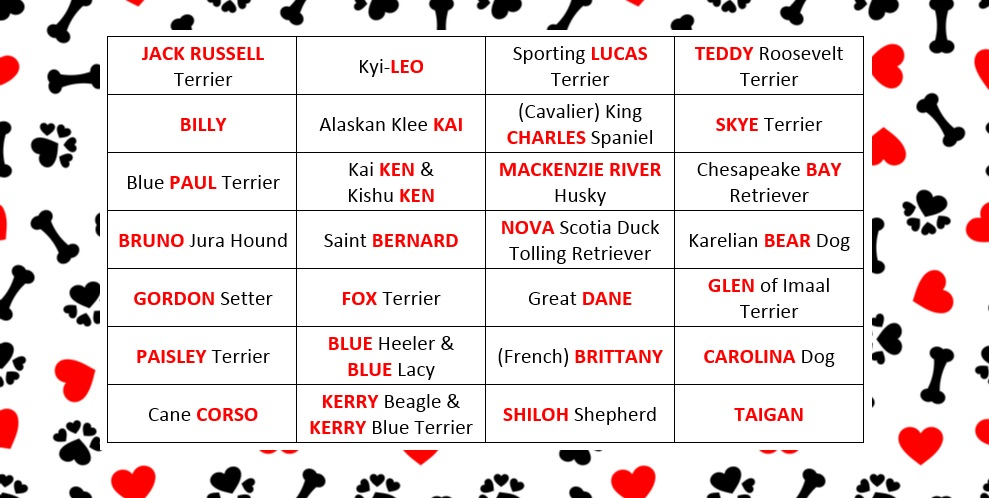 Name labels list of dog inspired names